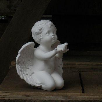 engel knielend handen vogeltje
