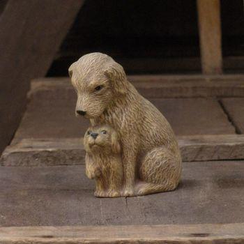 hond met puppie klein