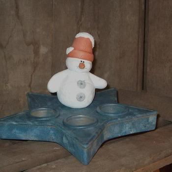 kandelaar ster met sneeuwmannetje