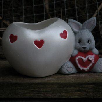 konijn hart theelichtje