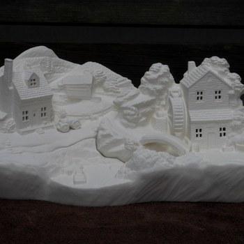tafereel groot watermolen/huis