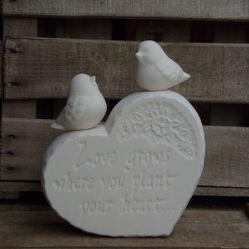 steen hart met vogeltjes
